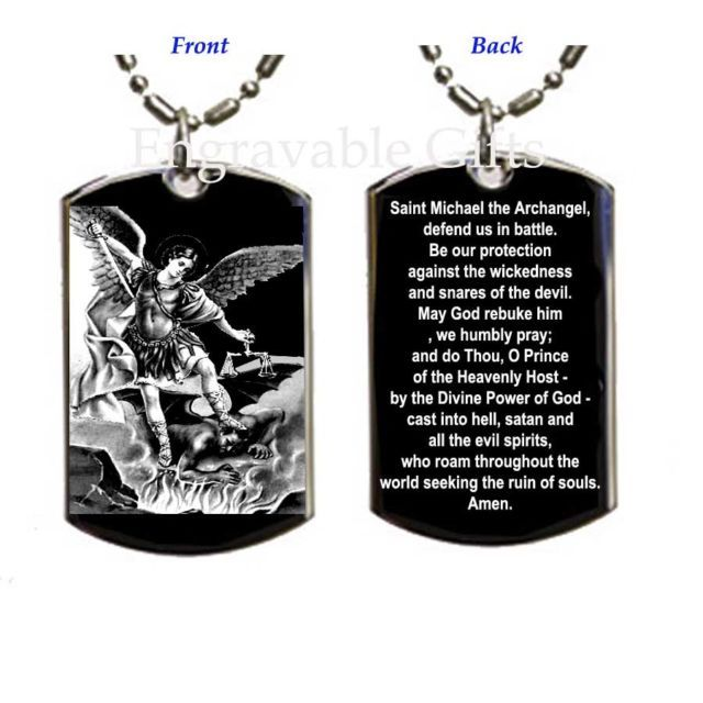Prayer to stmichael the archangel dog tag necklace medal pendant prayer to stmichael the archangel dog tag necklace medal pendant aloadofball Image collections