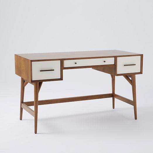 Mid Century Desk Acorn White Desks Walnut Veneer