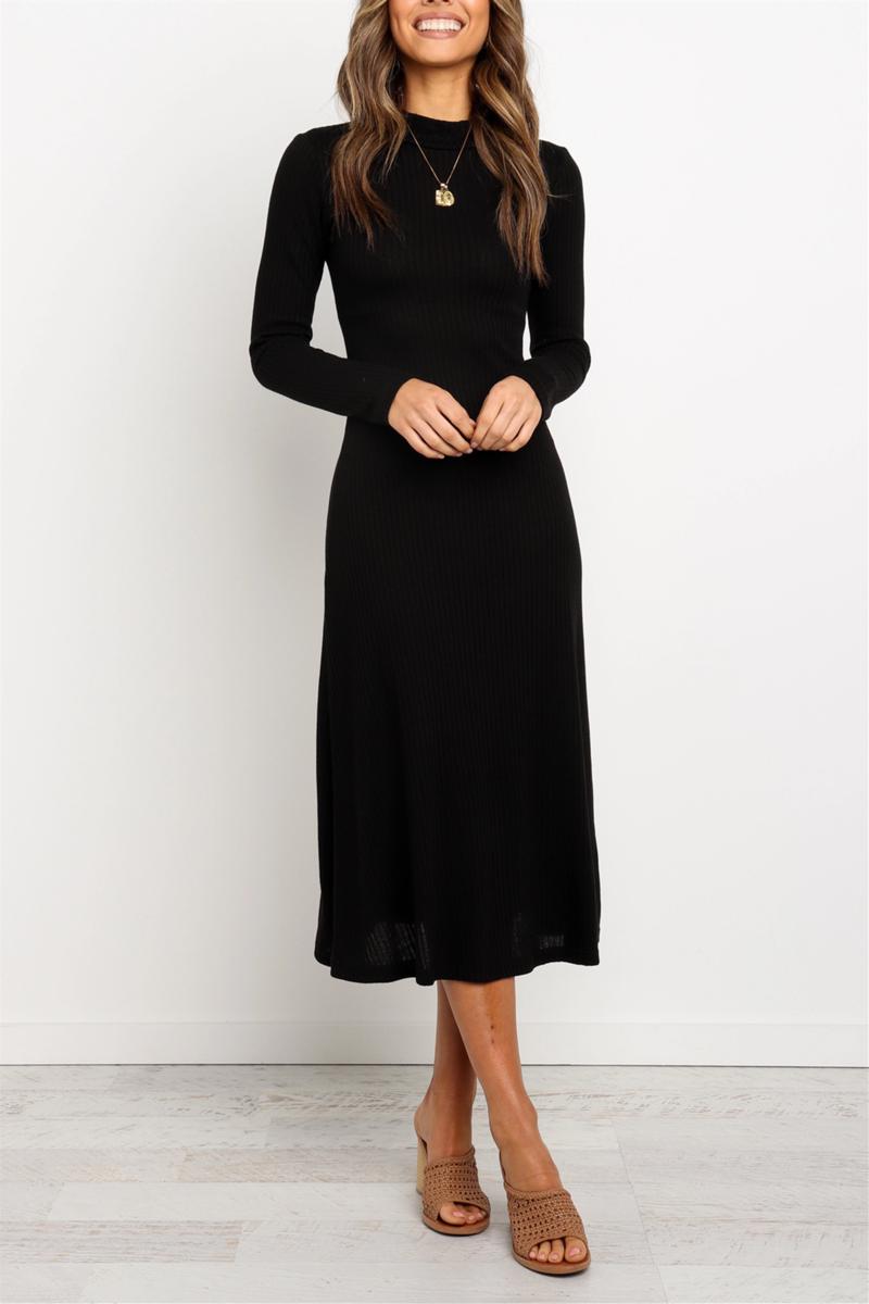 Long Sleeves High Round Neckline Black Midi Dress Black Dresses Casual Black Midi Dress Classy Dress [ 1200 x 800 Pixel ]