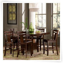 Homelegance Broome 7-Piece Counter Height Expandable Storage Dining Table Set - Dark Brown