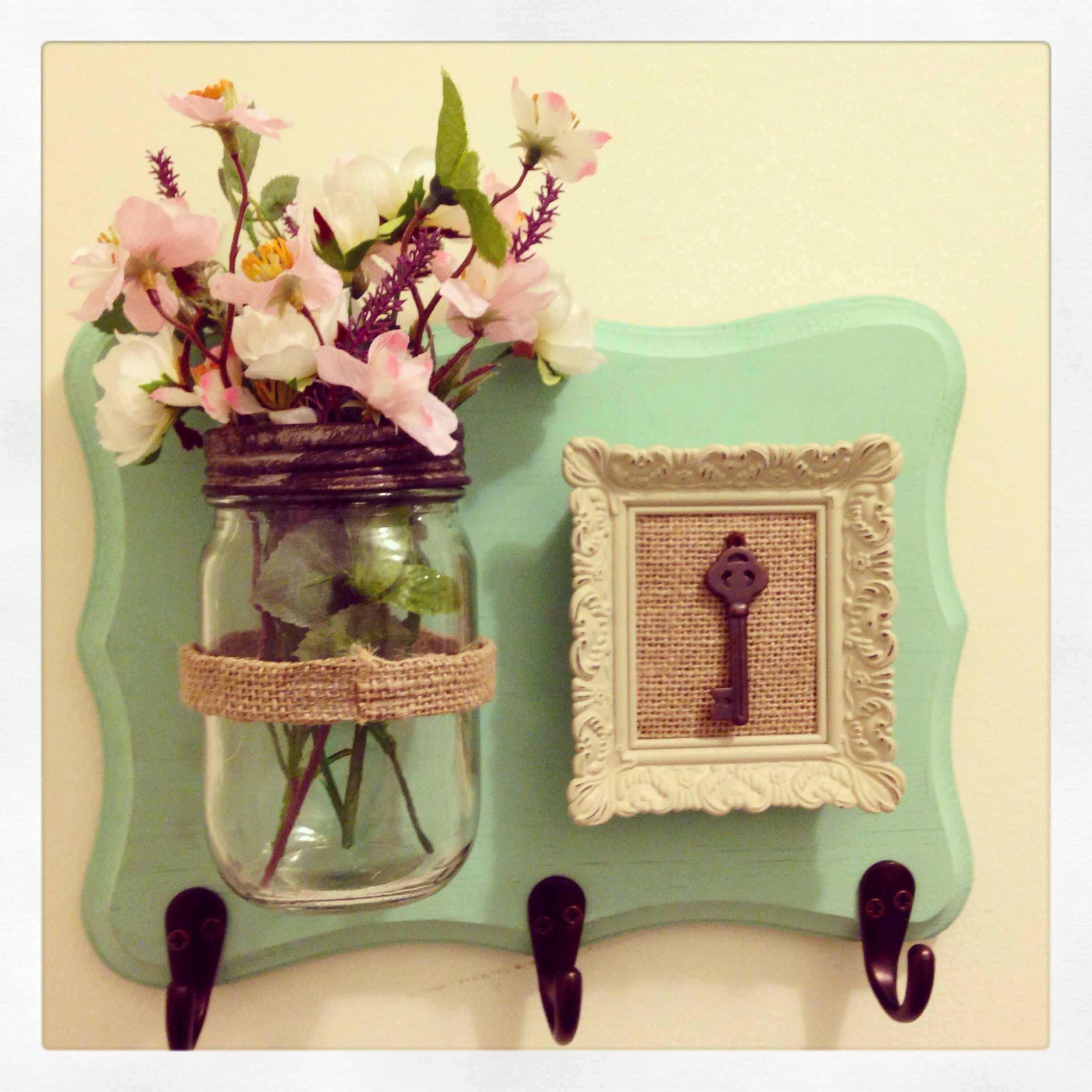 DIY key holder with mason jar flowers and key picture frame with ...