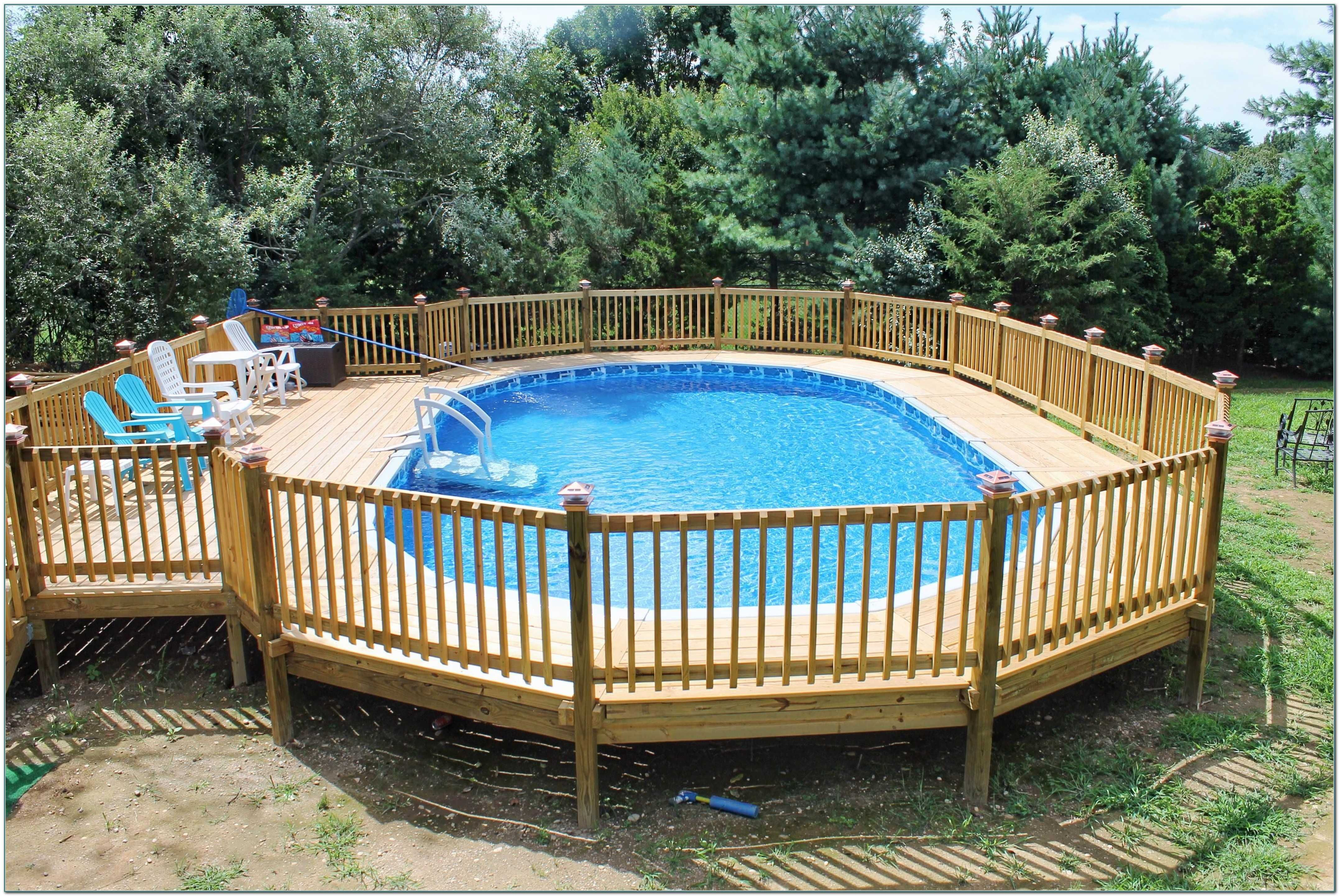 Above Ground Oval Pool Decks Ideas With Attractive Deck Plans Images Pools