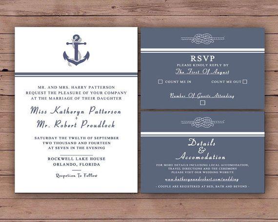 Printable Wedding Invitation Set - Invitation - RSVP Card - Details Card - DIY Wedding - The Kennedy Collection Design