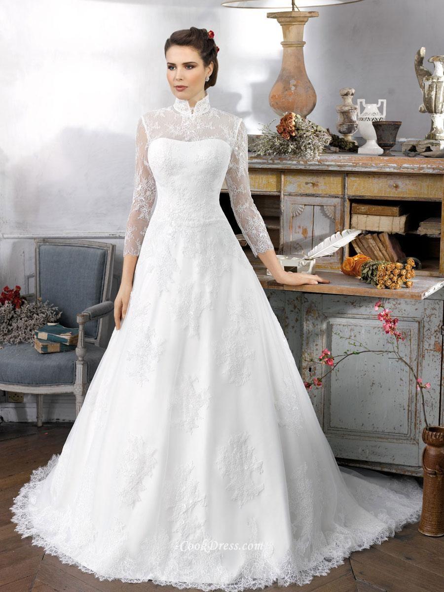 scalloped white long sleeve lace bridal wedding dress Wedding