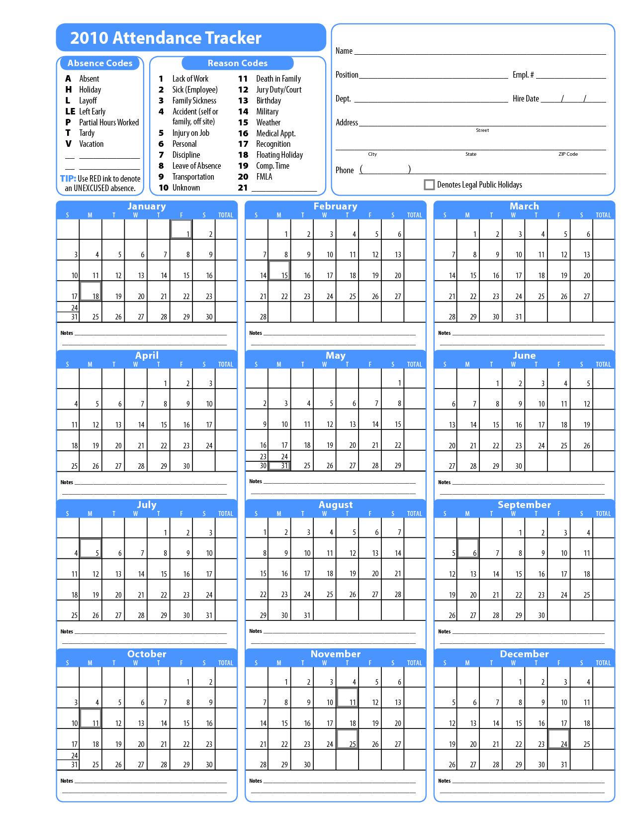 Free Attendance Calendars Printable Employee Attendance