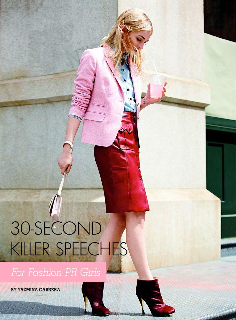 30-second killer speeches for Fashion PR Girls   www.girlwithabanjo.com