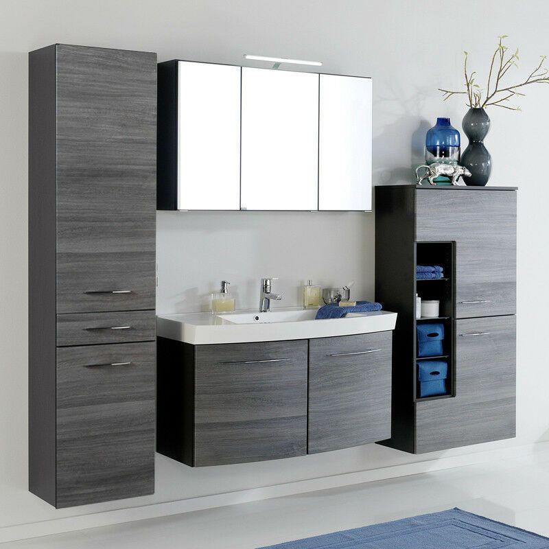 Komplett Badezimmer Set Eiche Grau 100cm Waschtisch Led