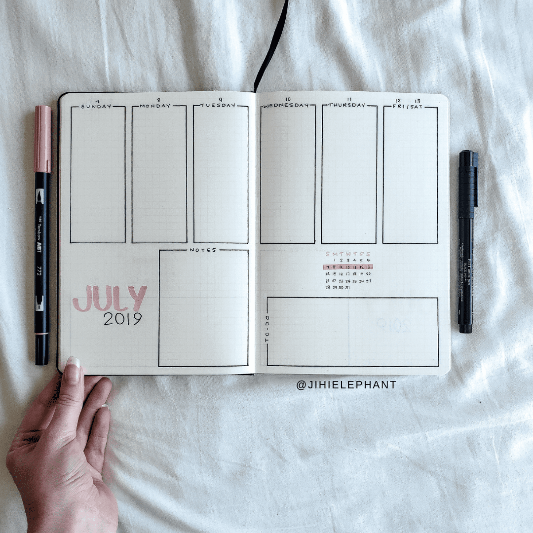Jessica's Pink and Green Bullet Journal | ElizabethJournals