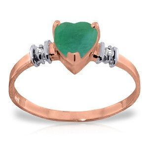 14K Solid Rose Gold Ring with Natural Emerald & Diamonds - 4393-R