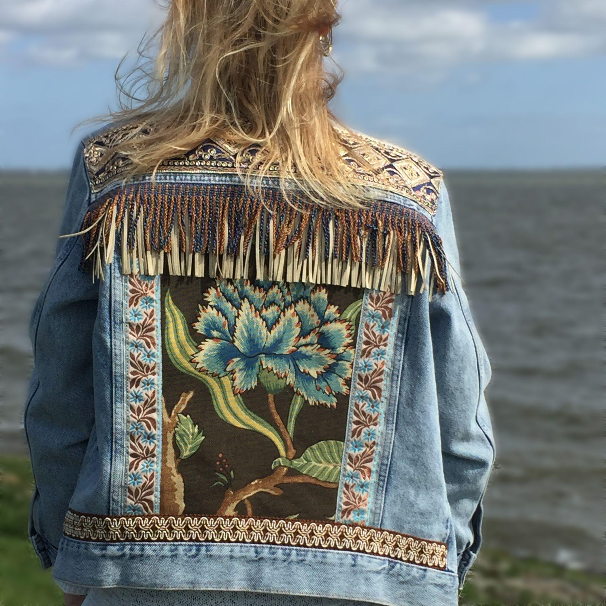 Boho Western Jacket Boho Denim Embellished Denim Embellished Denim Jacket [ 2103 x 2103 Pixel ]