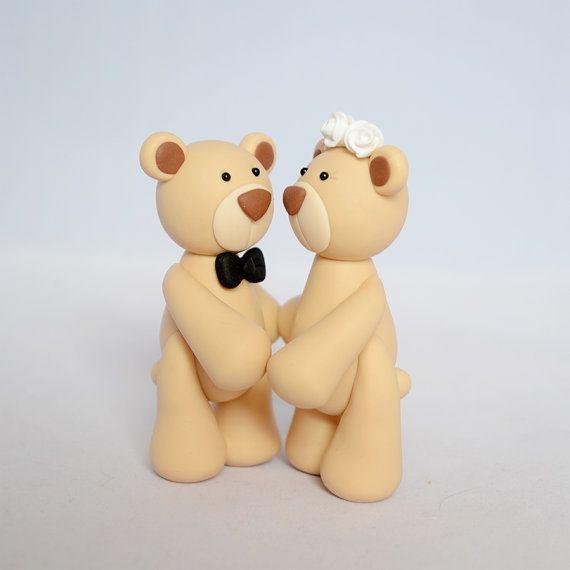Wedding Cake Topper - Teddy Bear Couple Polymer Clay Wedding Cake ...