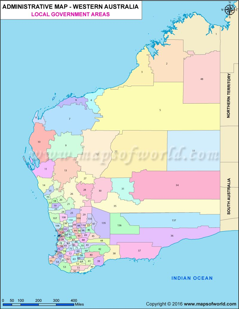 buy western australia local government areas map