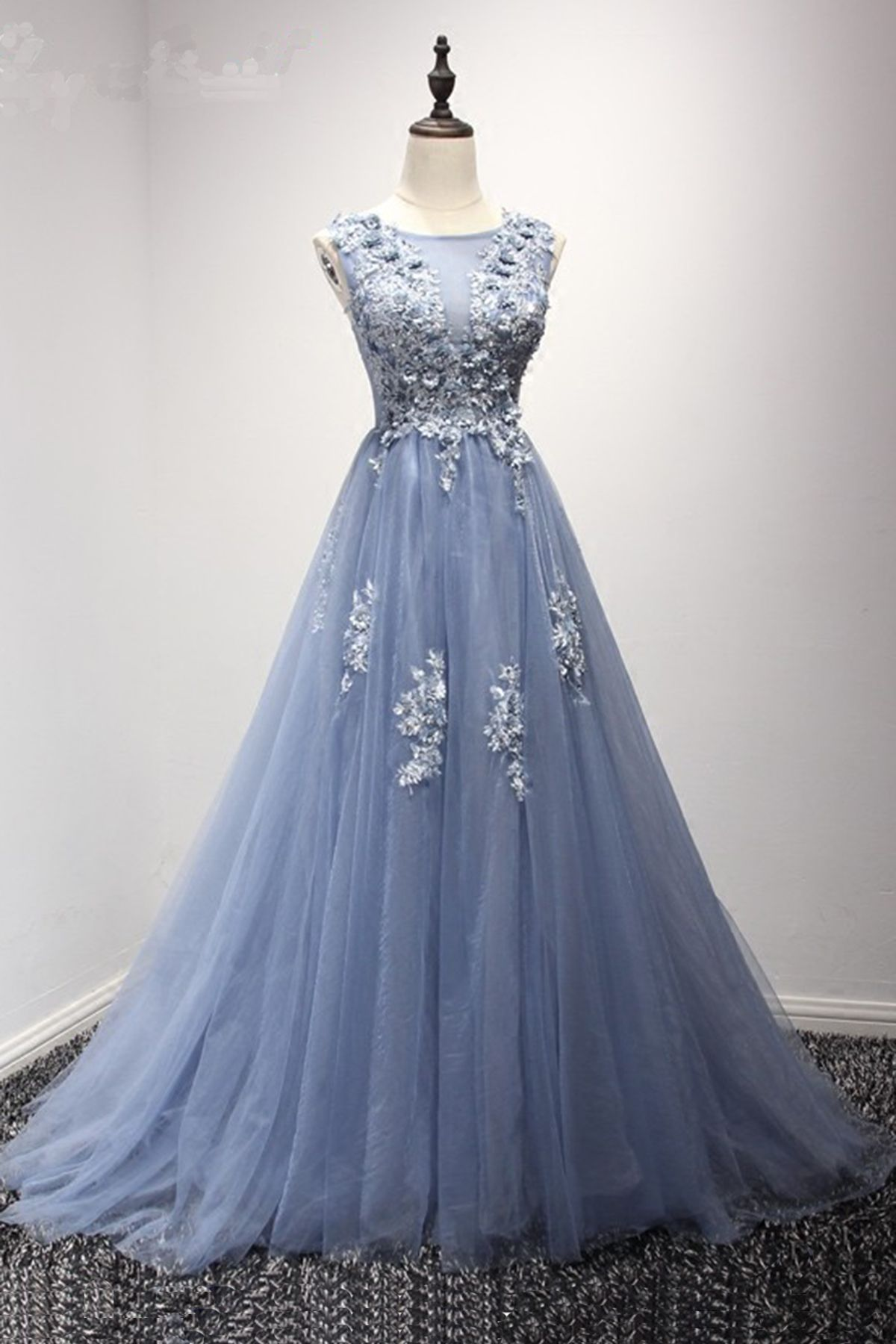 Blue tulle d flower long aline prom dress blue evening dress from