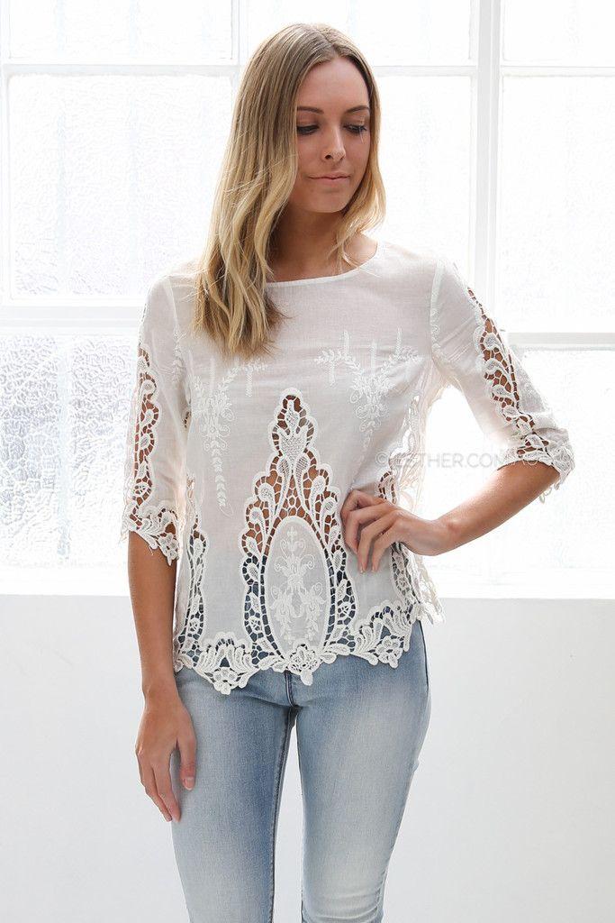 gloria top - ivory | Esther clothing Australia and America USA,