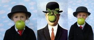 """The two bookends of this photo are my 3 yr. old and 7 yr. old dressed as Rene Magritte's """"Son of Man"""""""