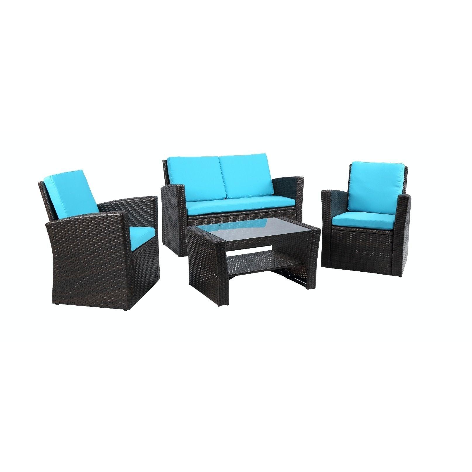 International Baner Garden Outdoor Furniture Complete Patio 4 pieces Cushion PE Wicker Rattan Garden Set, , Patio Furniture