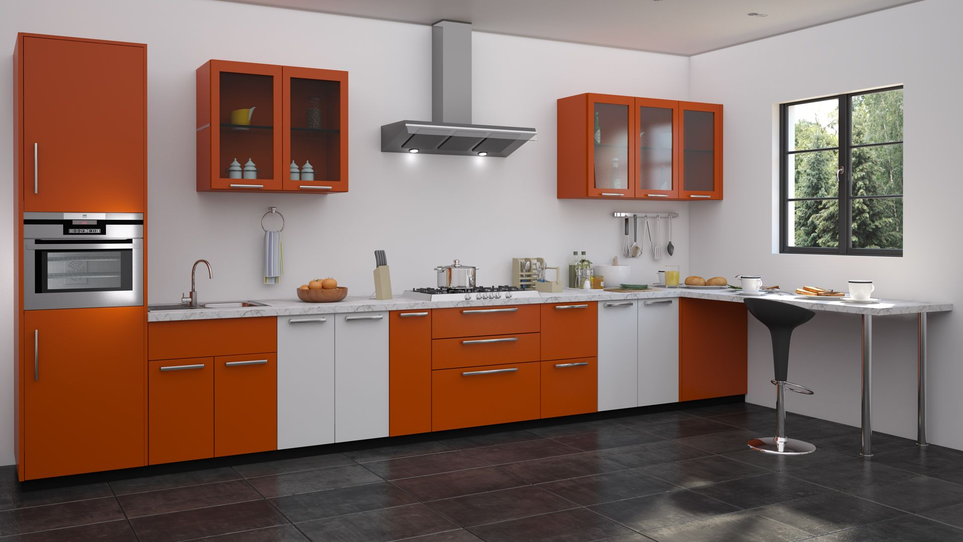 Orange modular kitchen design straight kitchen designs for Straight kitchen ideas