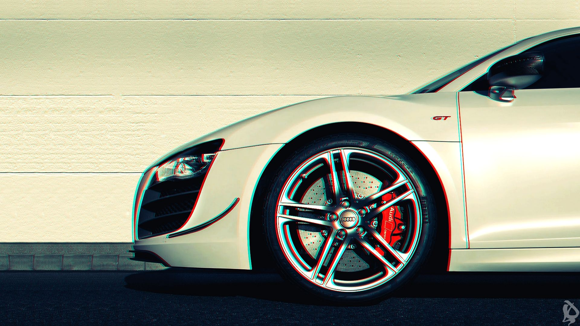 Download Wallpaper 1920x1080 Audi R8, Anaglyph, 3d, Car Full HD