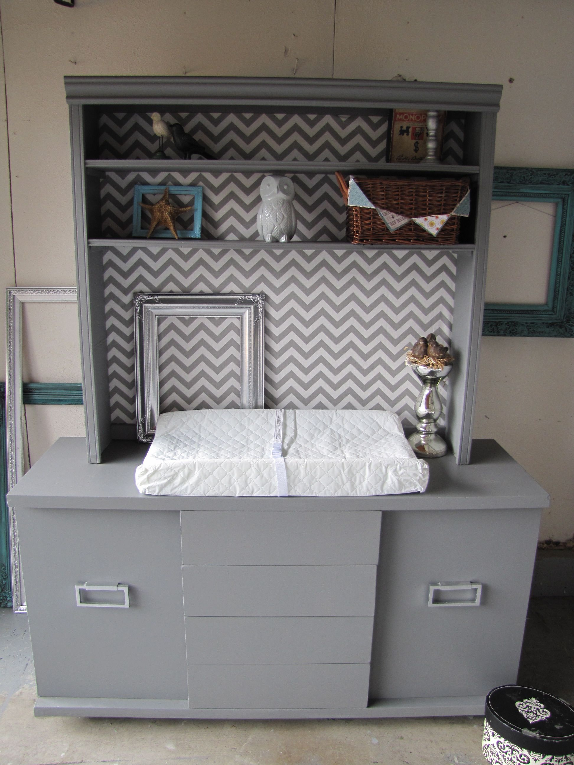 chevron painted furniture. Gray/White Chevron Baby Changing Table Dresser From Repurposed Vintage Sideboard @Carrie Johnson Pahlkotter Painted Furniture P
