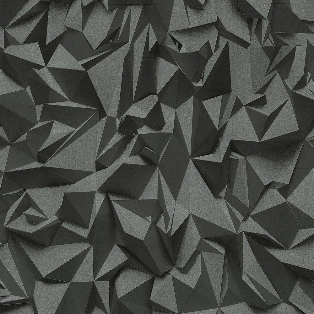 Details About 3D Effect Black Silver Futuristic Metallic