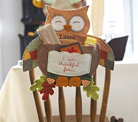Thankful Owl Chairbacker | Pottery Barn Kids~ would be cute at the kid's table! #thanksgiving
