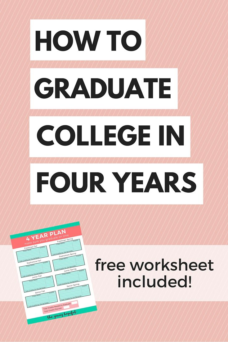 how to graduate college in 4 years   free worksheet