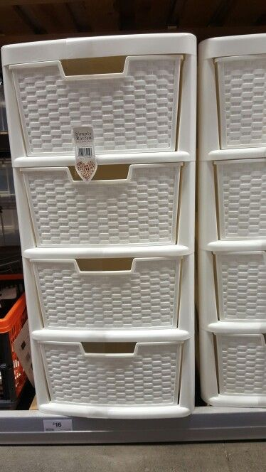 B Q White Plastic Rattan Effect Drawers Plastic Laundry Basket Wicker Decorative Wicker Basket