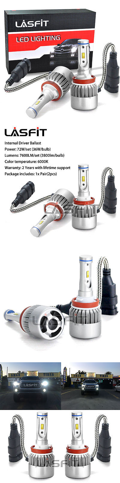 Motors Parts And Accessories 2X Lasfit H16 Led Fog Light
