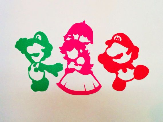 Peach Luigi Mario Inspired Silhouette 3 Paper by ...