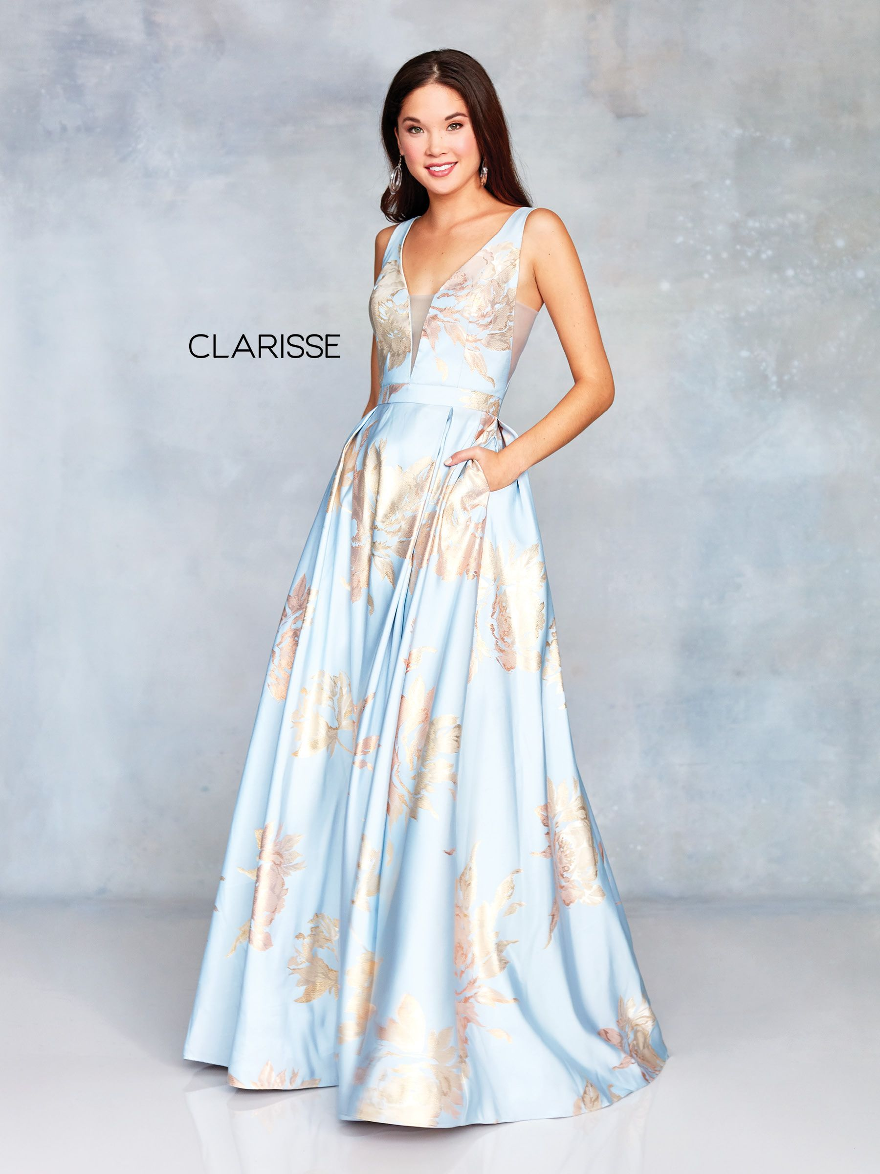 e06df8de59d 3703 - Light blue and gold floral patterned brocade ball gown with an open  back