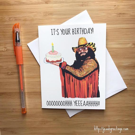 Funny 1980s Wrestler Birthday Card Happy Birthday Card For Etsy Happy Birthday Cards Birthday Cards Birthday Gifts For Boyfriend