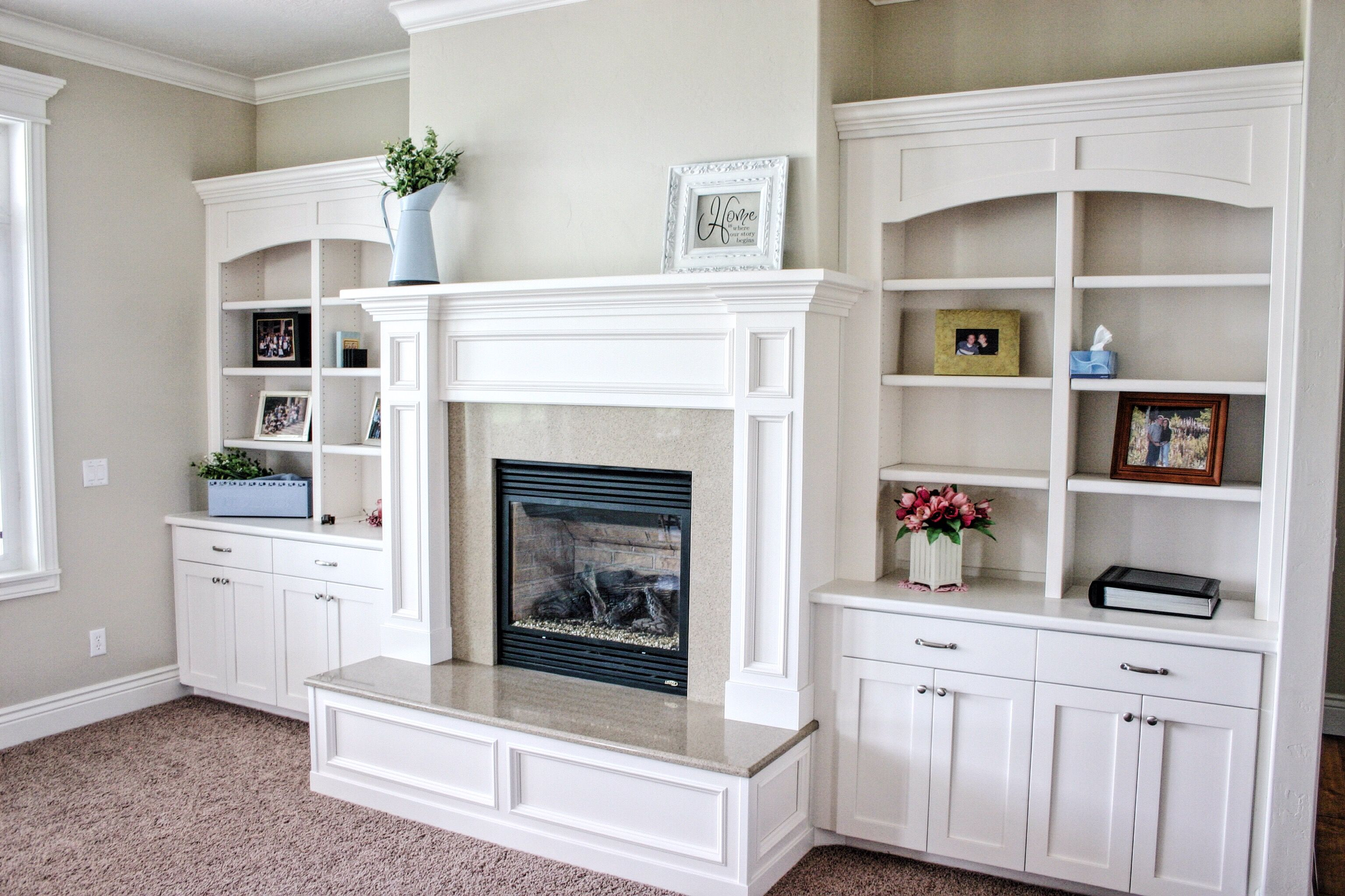Mantle And Bookshelves By Premier Cabinets Of Northern Utah