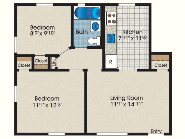Square Feet Low Budget 2 Bedroom House Floor Plan Design 3d Novocom Top