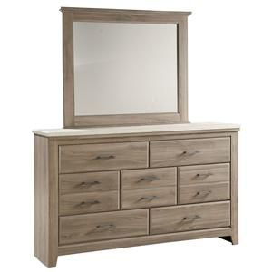 Standard Furniture Stonehill 7 Drawer Dresser and Framed Landscape Mirror - Standard Furniture - Dresser & Mirror