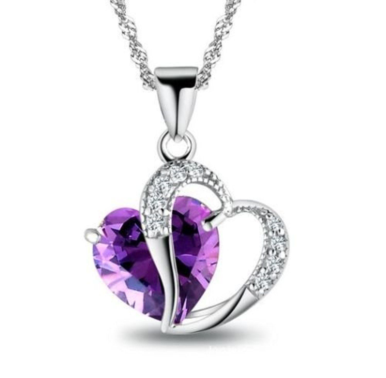 Romantic purple Silver Purple Gemstone Heart Nice Necklace Pendant