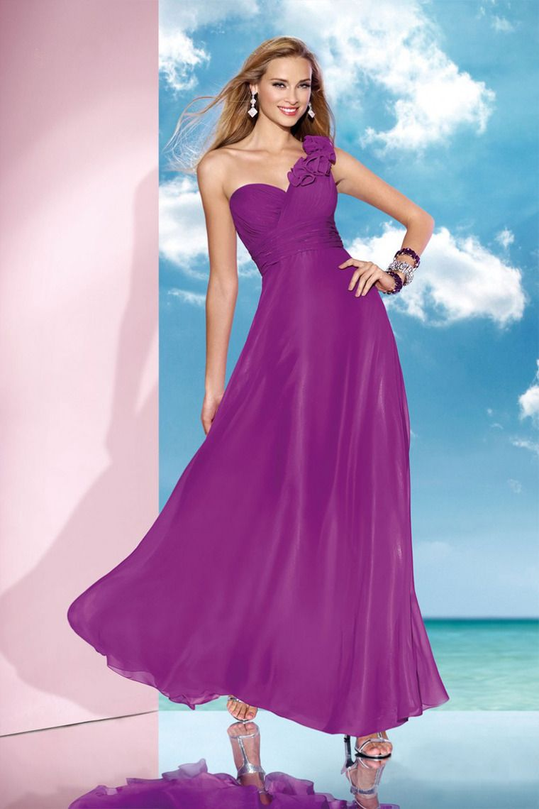 Concise Ruffled Bodice Floor Length One Shoulder Bridesmaid Dress ...