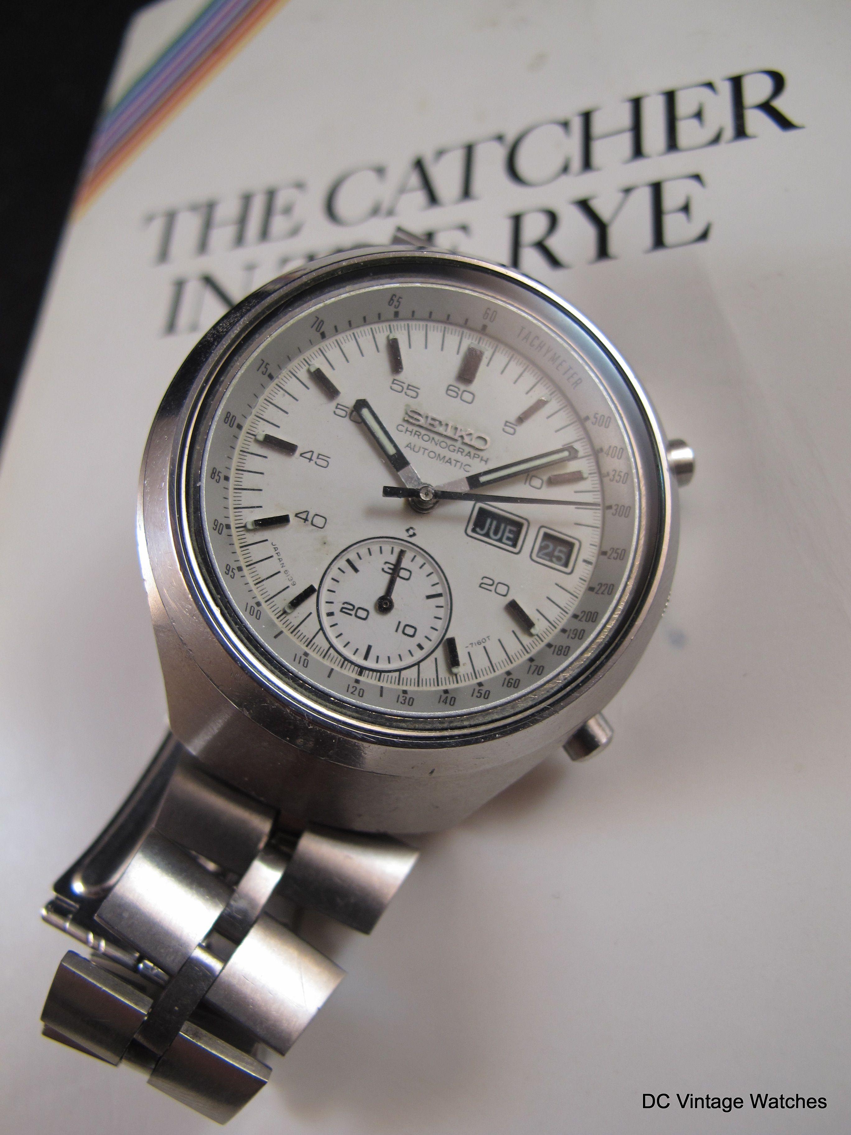 "NEW DCVW SALE 1979 Seiko 6139 7101 ""Helmet"" Automatic Chronograph DC Vintage Watches Pinterest"