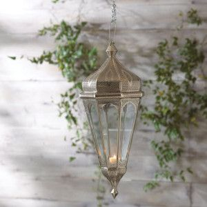 Romantic Glass and Polished Nickel Hanging Lantern - highly ornate at #DustyJunk.com