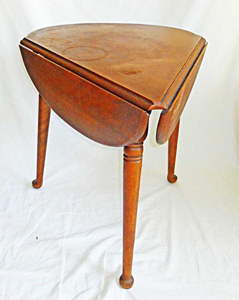 Ethan Allen Vintage Table Cloverleaf Drop Leaf Corner