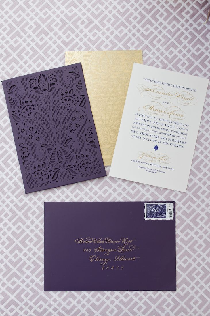 The dramatic purple and gold wedding invitation suite by Ceci New York featured damask details and delicate laser-cut sleeves. #PurpleWedding #WeddingInvitation Photography: Thisbe Grace Photography. Read More: https://www.insideweddings.com/weddings/elegant-jewel-toned-inspirational-wedding-shoot-in-dallas-texas/670/