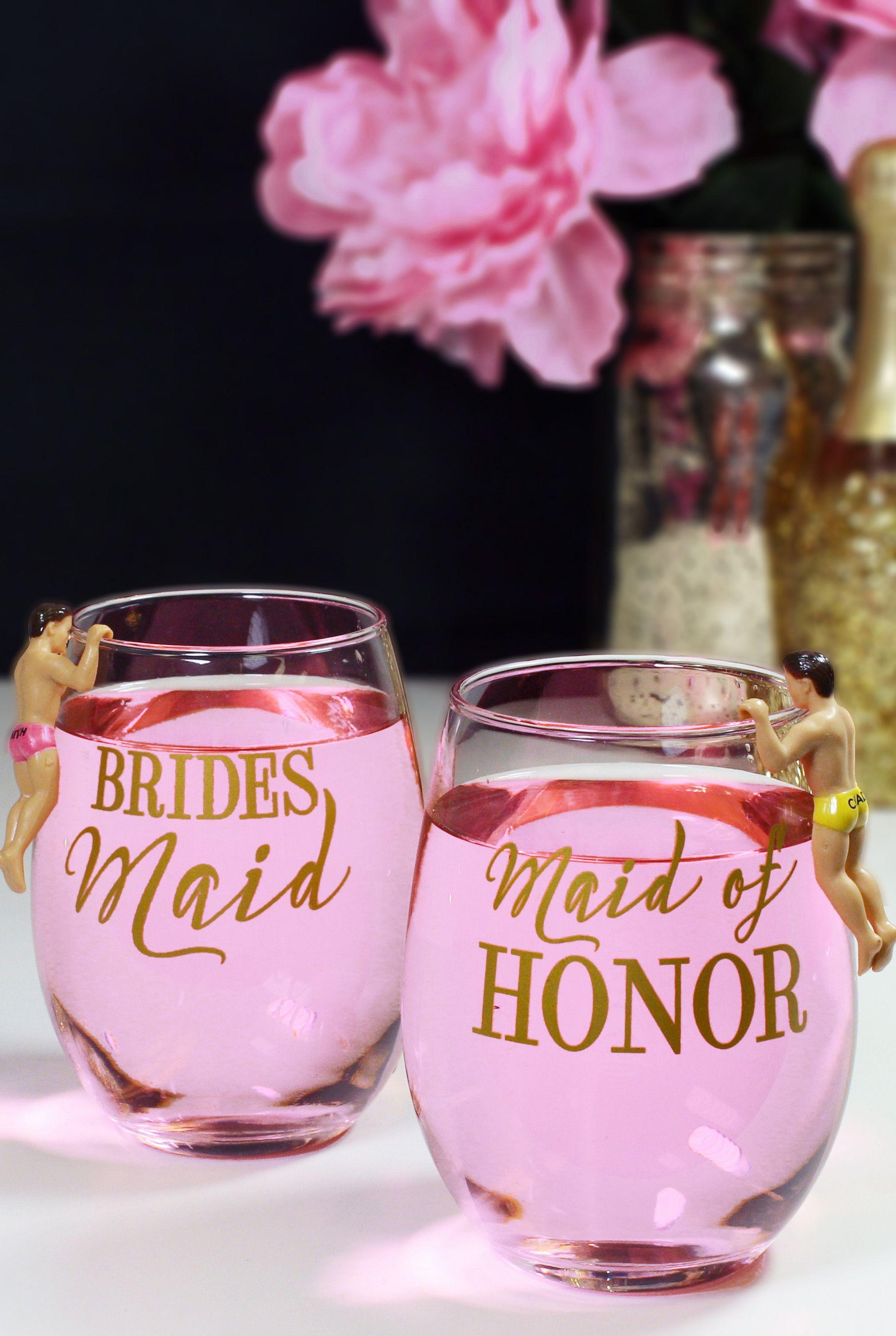 Modern Bridesmaid Stemless Wine Glass | Bridesmaid | Pinterest ...