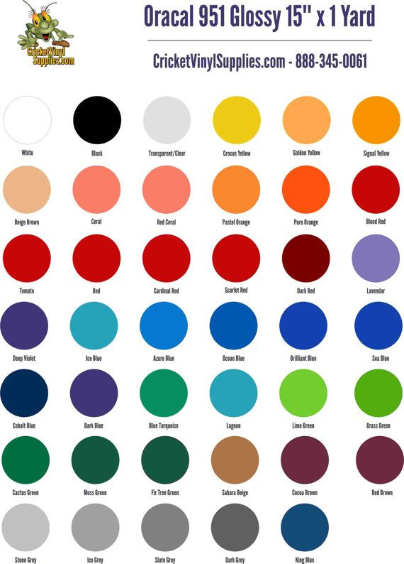 oracal 951 glossy marine vinyl 15 inch x 1 yd increments for cricut - Cricut Vinyl Colors