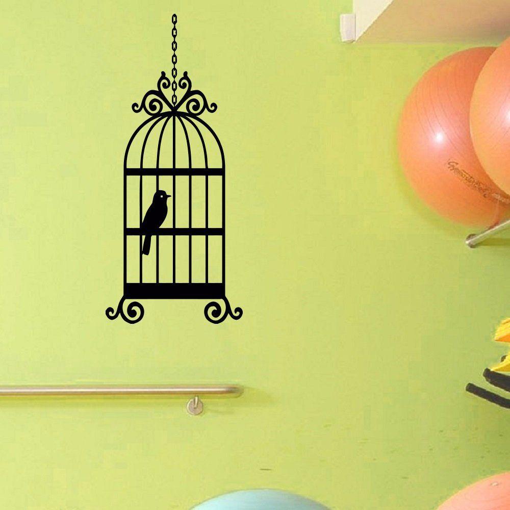 Amazon.com - Wall Decal Vinyl Sticker Animal Bird Cage Birdcage ...