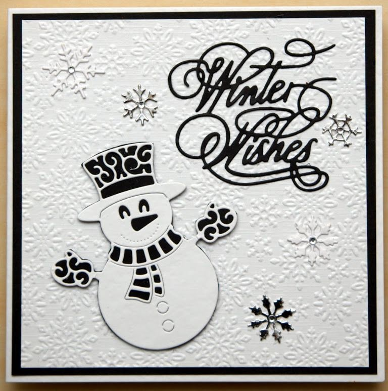 Crafters companion snowflake embossing folder, Tattered lace snowman and winter wishes.