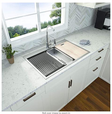 33x22 Kitchen Sink Drop Ghomeg 33 Inch Kitchen Single Bowl Drop Topmount Ledge Workstation 18 Gauge Kitchen Design 2020 Kitchen Design Drop In Kitchen Sink 33 x 22 kitchen sink single bowl