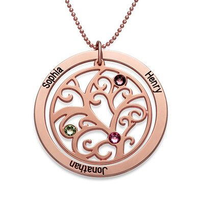 Personalised Tree Of Life Pendant Name Birthstones Rose Plated Necklace Gift