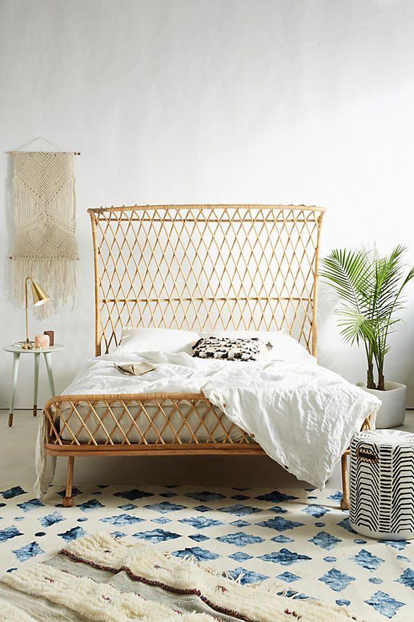 Curved Rattan Bed Bett möbel, Rattan kopfteil und