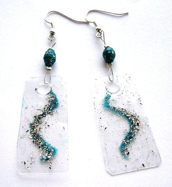 Teal waves earrings recycled plastic bottle & by dekoprojects