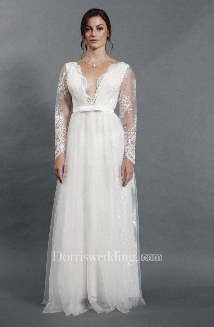 Wedding dress dry cleaning near me  DeepV Neck Long Sleeve Lace and Tulle ALine Dress With Bow Sash