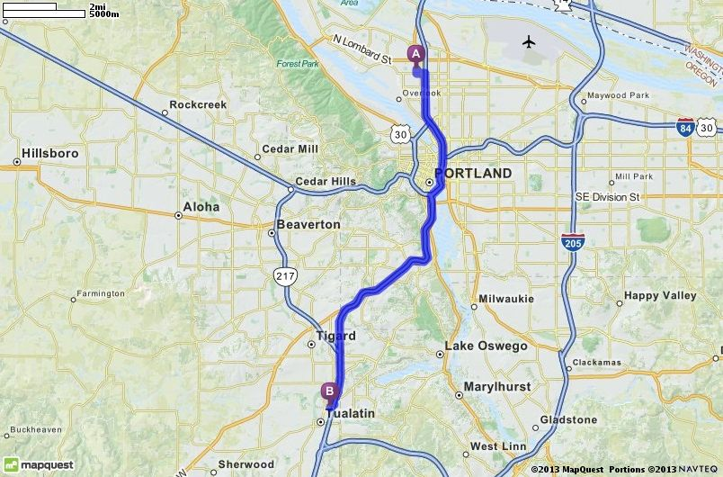 Driving Directions from 6834 N Fenwick Ave Portland Oregon 97217